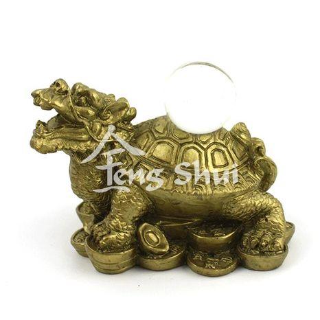 Dračia korytnačka s guľou, zlatá
