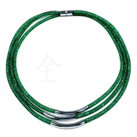 Náhrdelník zelený 3-radový, magnet