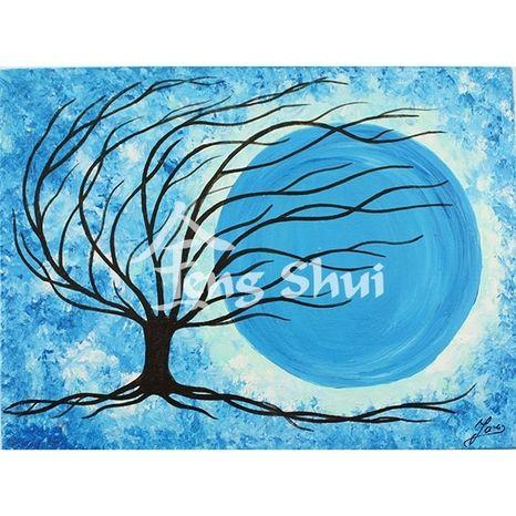 Obraz Strom života 4, 21x16 cm, modrý
