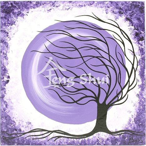 Obraz Strom života 1, 15x15 cm, fialový