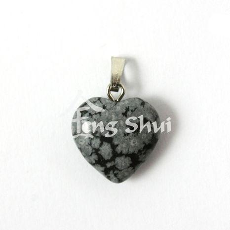Prívesok srdce malé Obsidián vločkový