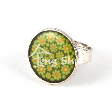 Prsteň Kvety zelené, kruh 2 cm