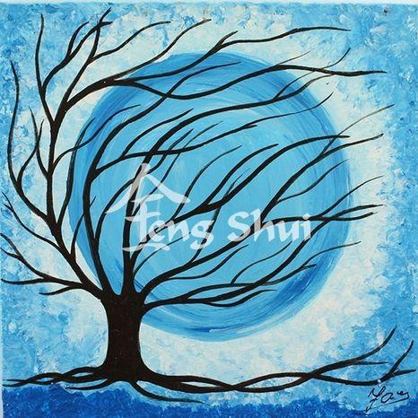 Obraz Strom života 2, 15x15cm, modrý